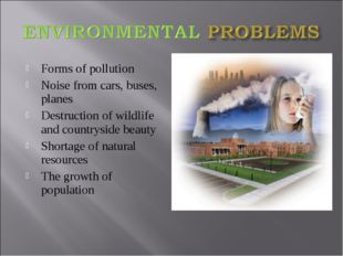 Forms of pollution Noise from cars, buses, planes Destruction of wildlife and