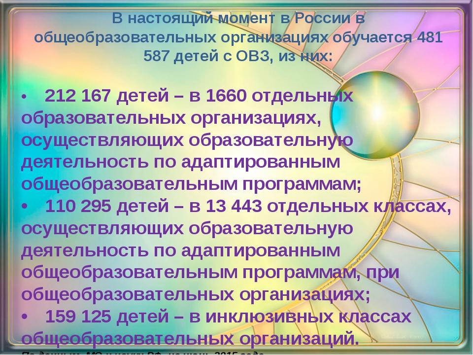 В настоящий момент в России в общеобразовательных организациях обучается 481...