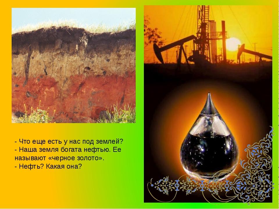 - Что еще есть у нас под землей? - Наша земля богата нефтью. Ее называют «чер...
