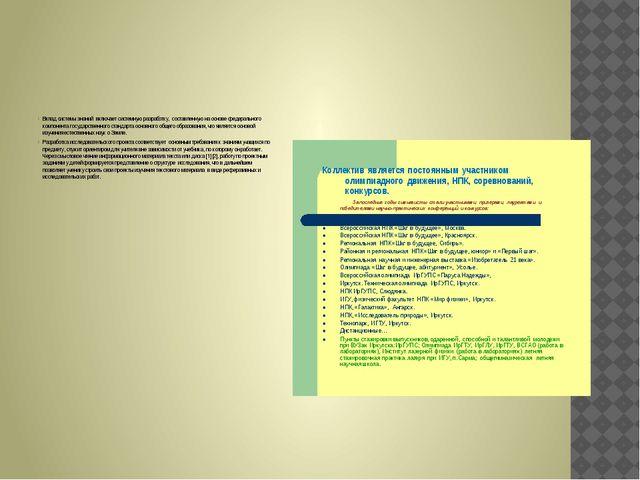 Вклад системы знаний включает системную разработку, составленную на основе ф...