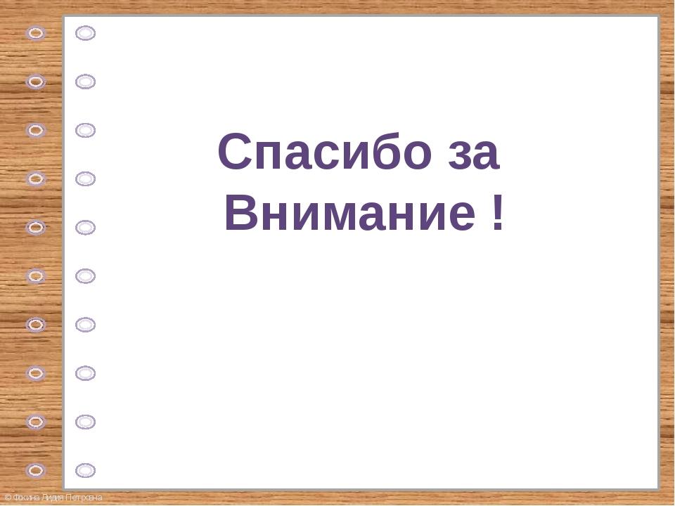 Спасибо за Внимание ! © Фокина Лидия Петровна