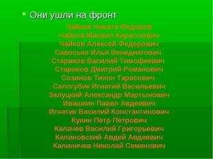Они ушли на фронт Чайков Никита Федоров Чайков Михаил Кириллович Чайков Алекс