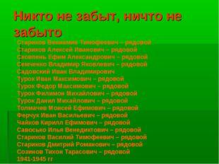 Никто не забыт, ничто не забыто Стариков Вениамин Тимофеевич – рядовой Старик