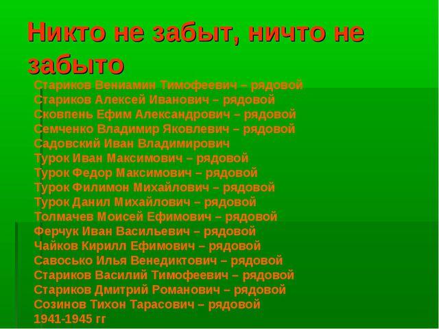 Никто не забыт, ничто не забыто Стариков Вениамин Тимофеевич – рядовой Старик...