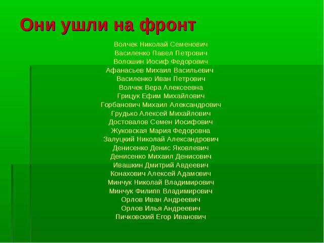 Они ушли на фронт Волчек Николай Семенович Василенко Павел Петрович Волошин И...