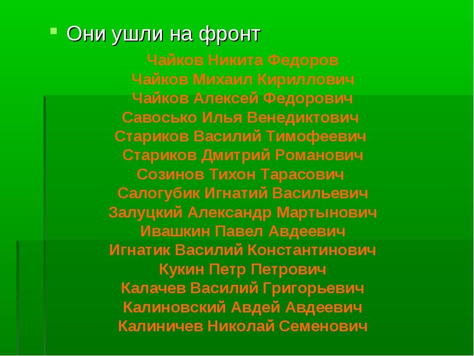 Они ушли на фронт Чайков Никита Федоров Чайков Михаил Кириллович Чайков Алекс...