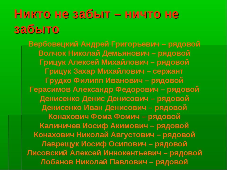 Никто не забыт – ничто не забыто Вербовецкий Андрей Григорьевич – рядовой Вол...
