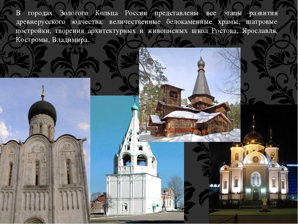 В городах Золотого Кольца России представлены все этапы развития древнерусско...