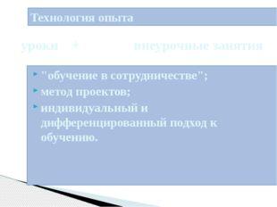 """Технология опыта """"обучение в сотрудничестве""""; метод проектов; индивидуальный"""