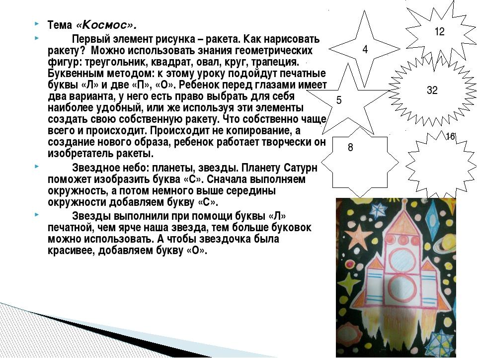 Тема «Космос». Первый элемент рисунка – ракета. Как нарисовать ракету? Можно...
