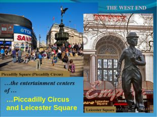 Piccadilly Square (Piccadilly Circus) Leicester Square …the entertainment cen
