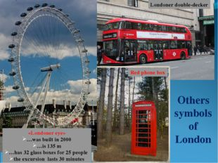 Others symbols of London Londoner double-decker Red phone box «Londoner eye»
