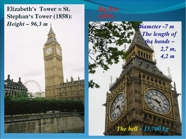 Big Ben (1859) Elizabeth's Tower = St. Stephan's Tower (1858): Height – 96,3...
