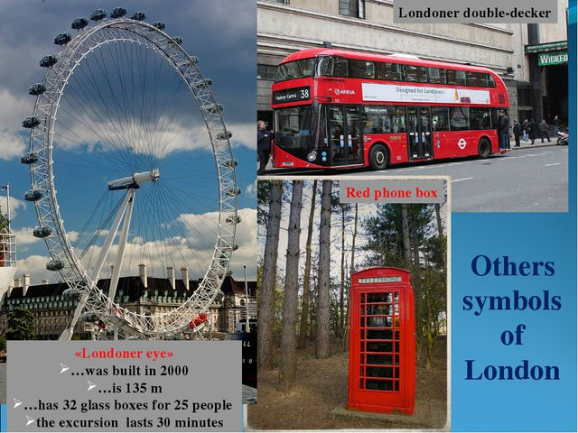 Others symbols of London Londoner double-decker Red phone box «Londoner eye»...