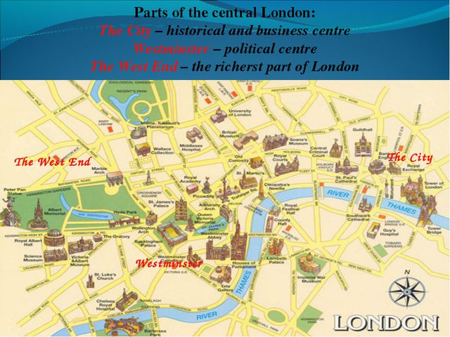 The City Westminster The West End Parts of the central London: The City – hi...