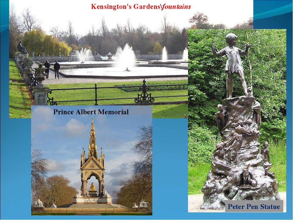 Kensington's Gardens\fountains Prince Albert Memorial Peter Pen Statue