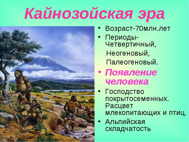 Кайнозойская эра Возраст-70млн.лет Периоды-Четвертичный, Неогеновый, Палеоген...