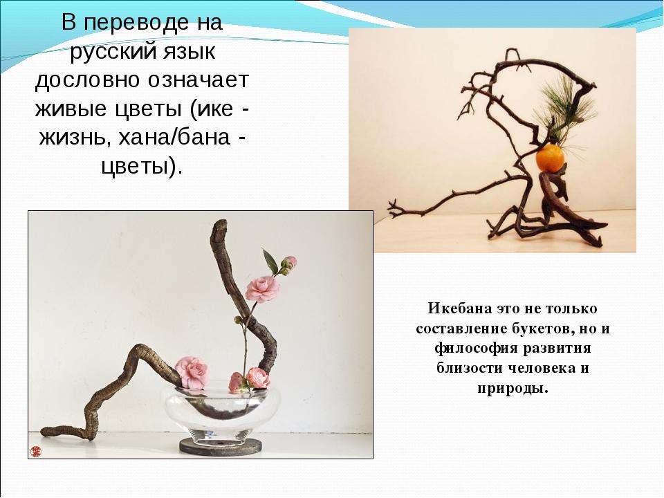 В переводе на русский язык дословно означает живые цветы (ике - жизнь, хана/б...