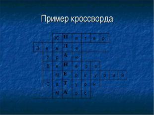 Пример кроссворда Ю и т е р З е м я У р н В е е р а М р к у р и й С а у р н М