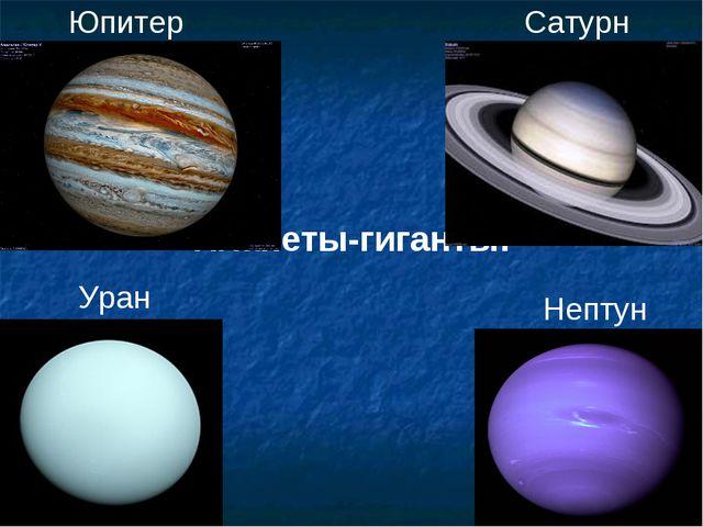 Планеты-гиганты: Юпитер Сатурн Уран Нептун