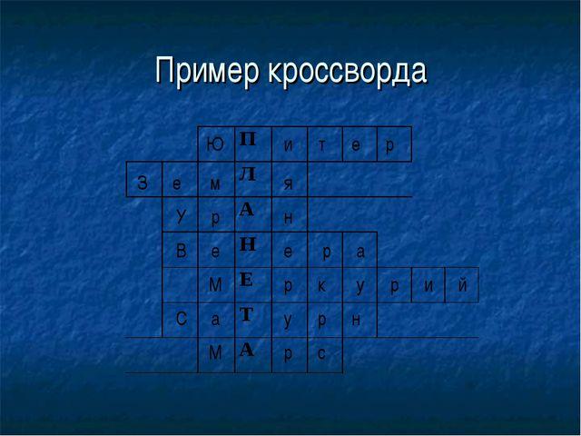Пример кроссворда Ю и т е р З е м я У р н В е е р а М р к у р и й С а у р н М...