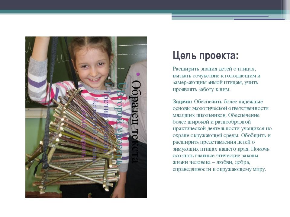 Цель проекта: Расширить знания детей о птицах, вызвать сочувствие к голодающи...