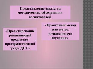 Представление опыта на методическом объединении воспитателей «Проектный метод