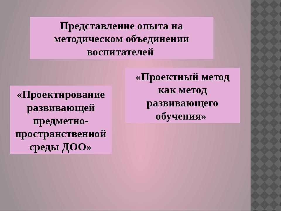 Представление опыта на методическом объединении воспитателей «Проектный метод...