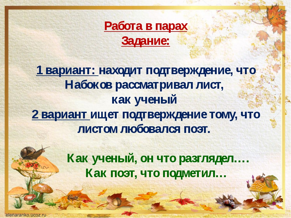 Работа в парах Задание: 1 вариант: находит подтверждение, что Набоков рассмат...