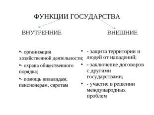 ФУНКЦИИ ГОСУДАРСТВА ВНУТРЕННИЕ - организация хозяйственной деятельности; - ох