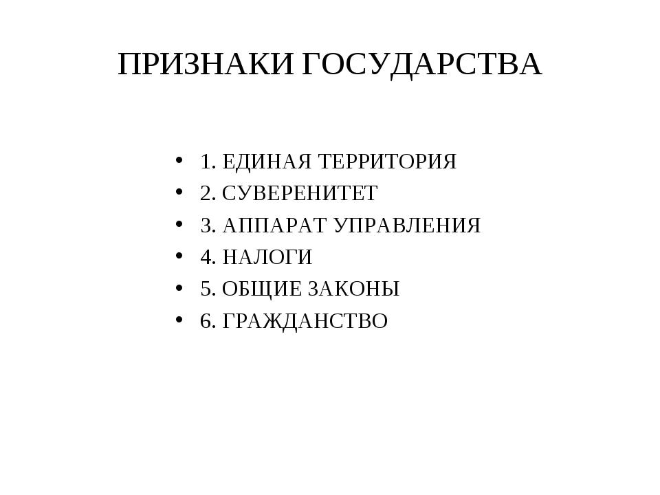 ПРИЗНАКИ ГОСУДАРСТВА 1. ЕДИНАЯ ТЕРРИТОРИЯ 2. СУВЕРЕНИТЕТ 3. АППАРАТ УПРАВЛЕНИ...