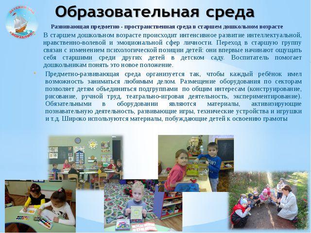 Развивающая предметно - пространственная среда в старшем дошкольном возрасте...