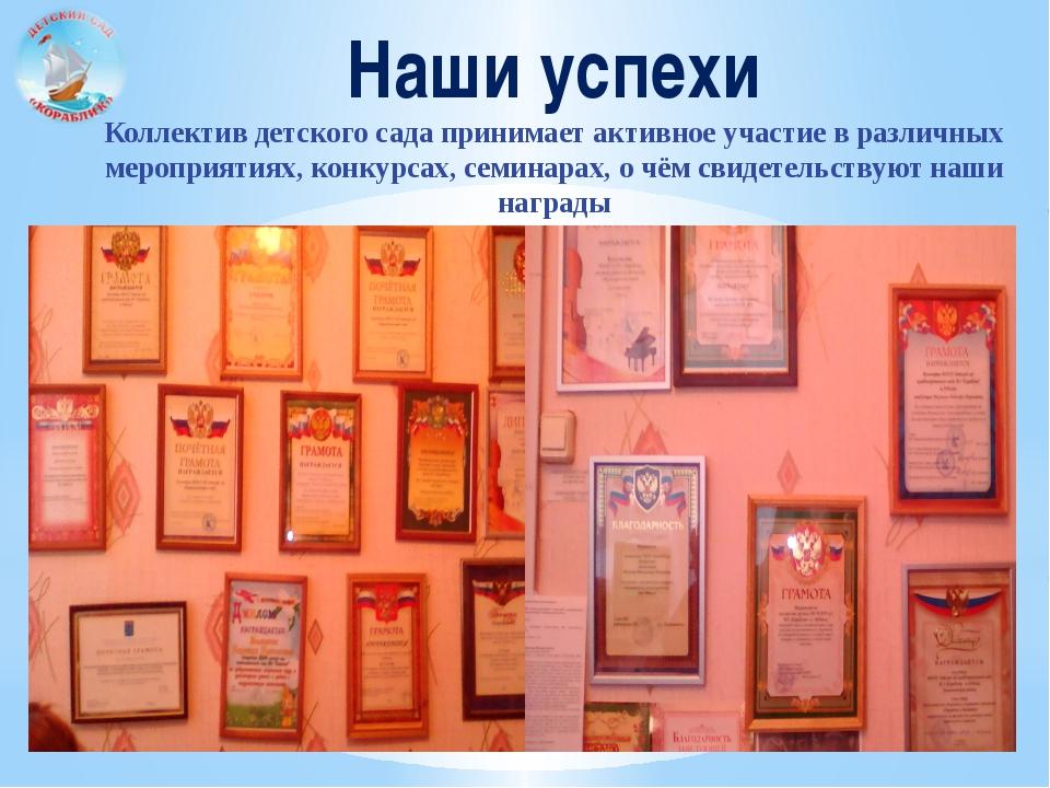 Наши успехи Коллектив детского сада принимает активное участие в различных ме...