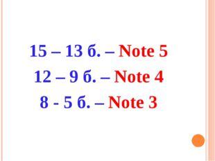 15 – 13 б. – Note 5 12 – 9 б. – Note 4 8 - 5 б. – Note 3