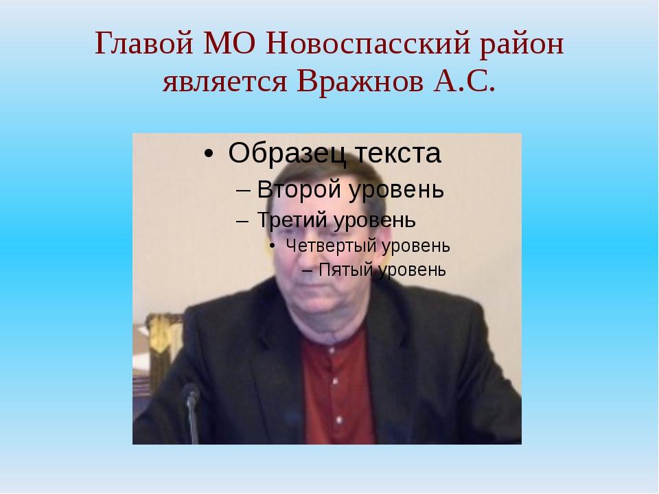 Главой МО Новоспасский район является Вражнов А.С.