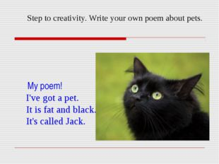 Step to creativity. Write your own poem about pets. My poem! I've got a pet.