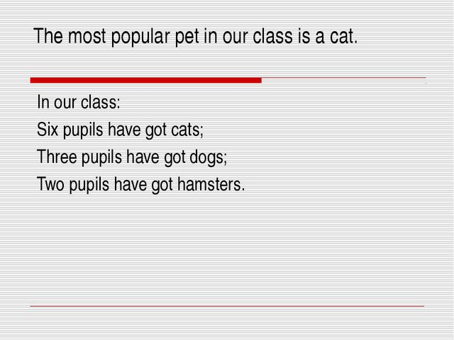 The most popular pet in our class is a cat. In our class: Six pupils have got...