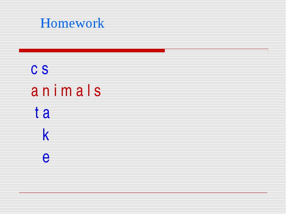 Homework c s a n i m a l s t a k e