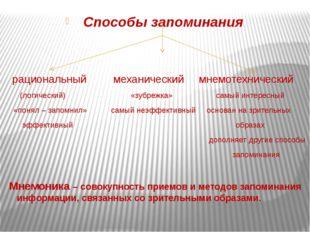 Способы запоминания рациональный механический мнемотехнический (логический)