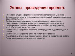 * Этапы проведения проекта: «Мозговой штурм» (формулирование тем исследований