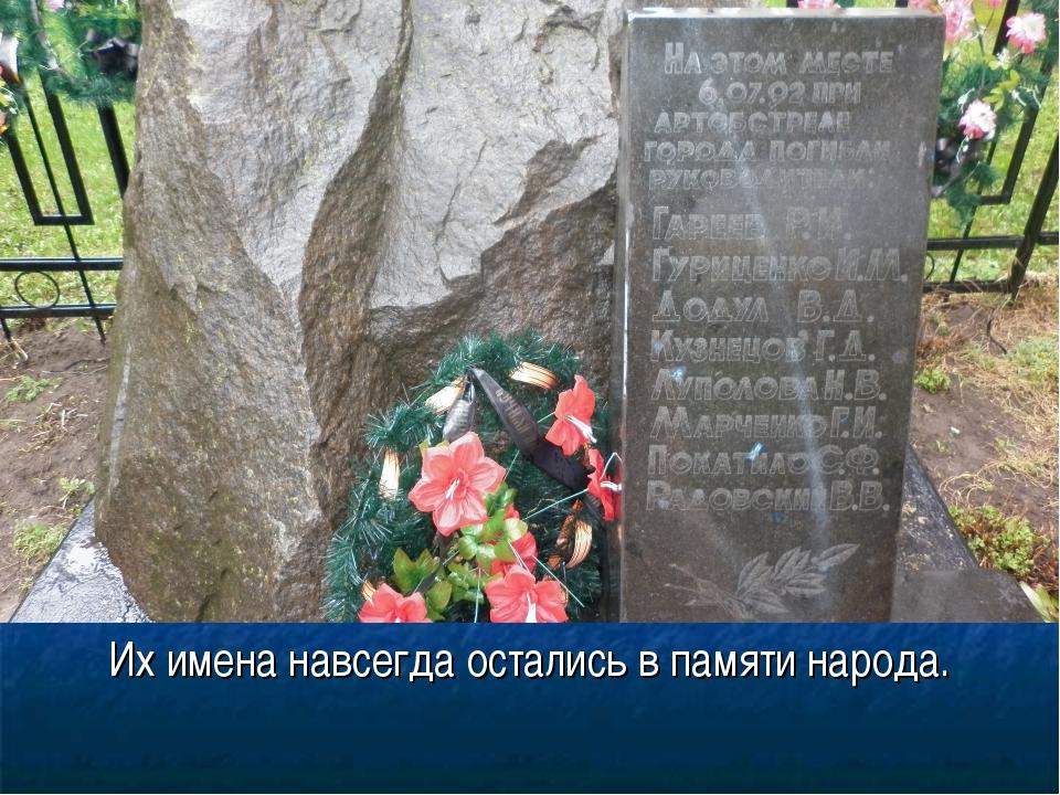 Их имена навсегда остались в памяти народа.