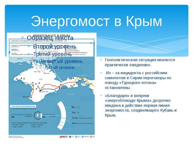 Энергомост в Крым Геополитическая ситуация меняется практически ежедневно. Из...