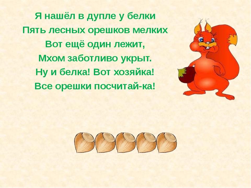 Я нашёл в дупле у белки Пять лесных орешков мелких Вот ещё один лежит, Мхом з...