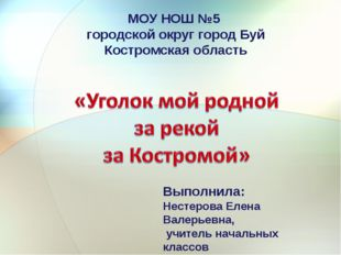 МОУ НОШ №5 городской округ город Буй Костромская область Выполнила: Нестерова