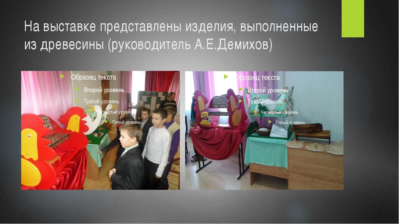 На выставке представлены изделия, выполненные из древесины (руководитель А.Е....