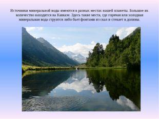 Источники минеральной воды имеются в разных местах нашей планеты. Большое их