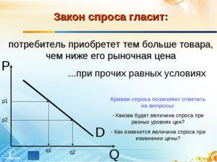 D P Q Закон спроса гласит: потребитель приобретет тем больше товара, чем ниже