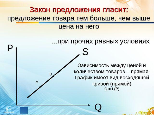 S P Q Закон предложения гласит: предложение товара тем больше, чем выше цена...