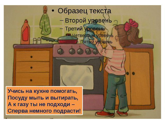 Учись на кухне помогать, Посуду мыть и вытирать, А к газу ты не подходи – Сп...