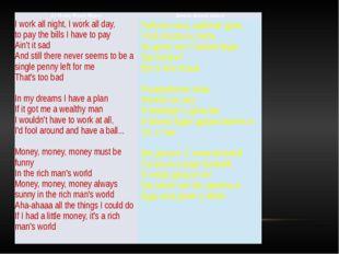 (1) MoneyMoneyMoney Деньги, деньги, деньги I work all night, I work all day,
